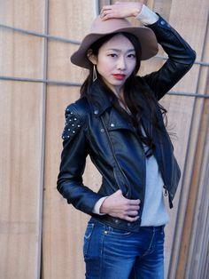Girls Jeans, Strand, Tights, Leather Jacket, Jackets, Fashion, Photo Studio, Model, Nice Asses