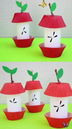 Paper Roll Apple Core - Easy Fall /Autumn Craft For Kids Paper roll apple core craft for preschoolers, kindergartners and older kids. Use paper rolls, cupcake liners and sticks to make this easy apple craft. Simple fall craft. #applecraft #paperrollcraft #applecraftforkids #stickcraft #cupcakelinercraft #fallcraftforkids #autumncraftforkids<br> An easy paper roll apple core craft for kids to welcome the upcoming fall season. A fun craft on the budget that uses recyclables. Paper Craft Work, Fall Paper Crafts, Fall Crafts For Kids, Diy For Kids, Craft Kids, Big Kids, Summer Crafts, Simple Paper Crafts, Fall Crafts For Preschoolers