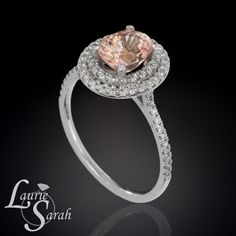 2 carat Peach Sapphire Engagement Ring in by LaurieSarahDesigns, $5085.00