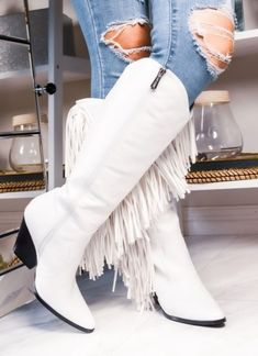 The Sinatra's White Fringe Boots – Baha Ranch Western Wear High Heel Cowboy Boots, White Cowgirl Boots, Knee High Boots, Heeled Boots, White Short Boots, White Boots, Hot Air Balloon Outfit, Black Faux Leather, Leather Boots