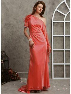 Light Chiffon Dropped Shoulder Neckline Ruched Bodice Prom Dress