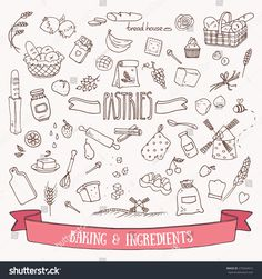 Bread, pastry and baking ingredients doodle set. Hand drawn vector illustration.