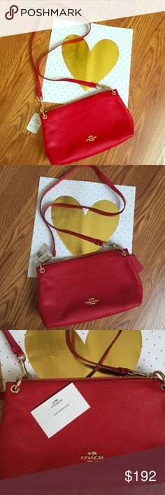 COACH RED SEXY CHIC CROSSBODY PURSE❤️ Very Sexy CHIC RED COACH PURSE... crossbody used once all look brand new Red  gold metal color very cute ❤️ Coach Bags Crossbody Bags Coach Handbags, Coach Purses, Coach Bags, Purse Crossbody, Designer Purses, Mac Makeup, Giambattista Valli, Red Gold, Fashion Tips