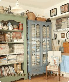 Sewing room, for Cam/ like the use of antique furniture for storage in sewing room.