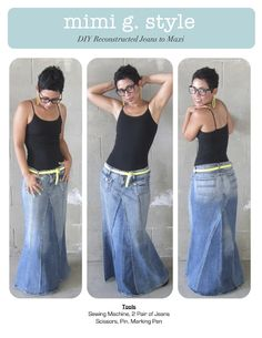 DIY TUTORIAL!!! Reconstructed Jeans to Fabulous Maxi! |Mimi G Style: DIY Fashion Sewing