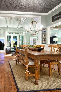 High and wide mounted curtains with sign under rod...like! Awesome farmhouse table!