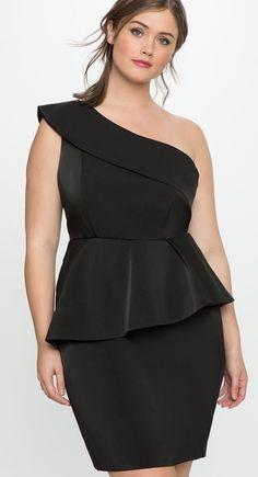 Plus Size One Shoulder Peplum Dress #plussizepartyoutfit