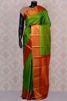 #Green divine #kanchipuram silk #saree with red border-SR18658 -#PURE KANCHIPURAM SILK SAREE #Sarees