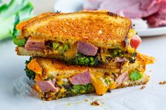 Roasted Broccoli, Ham and Cheddar Grilled Cheese Recipe : With roasted broccoli, ham and cheese never had it so good in a grilled cheese sandwich! Grilled Cheese Recipes, Ham Recipes, Sandwich Recipes, Cooking Recipes, Sandwich Ideas, Roast Recipes, Pizza Recipes, Brunch Recipes, Yummy Recipes