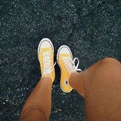 Adult Converse All Star Chuck Taylor High-Top Sneakers Sock Shoes, Cute Shoes, Me Too Shoes, Chuck Taylors, Yellow Converse, Converse High, Converse Shoes, Custom Converse, Yellow Shoes