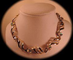 Beautiful Gold Tone Swirl and Aurora Borealis by thejeweledbear, $20.00