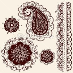 tatuaje de henna flor paisley garabatos vector — Ilustración de stock #8693111