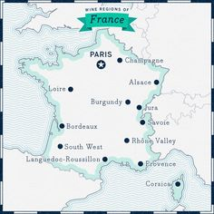 Overview of wine regions of France map