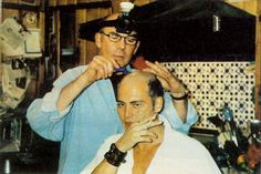 "Hunter S. Thompson shaves Johnny Depp's Head - ""Hunter shaved my head, in fact. I didn't look in the mirror at all, I was in mortal fear. Hunter had a mining light… on his head – we were in his kitchen – and yeah, he shaved my hair."" - Imgur"