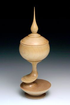 Curly Maple Multi-axis Lidded Box | Barbara Crockett Woodturning