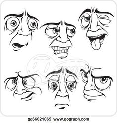 Sad facial expressions - vector set.