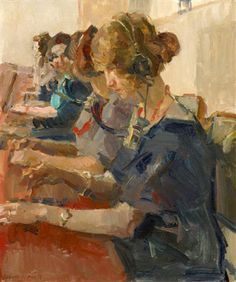 Isaac Israels  Telefonistes in de centrale, 1925. Particuliere collectie.