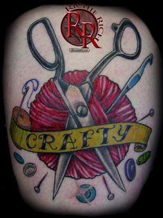 Tattoo by Richy Rich  https://www.facebook.com/ultimatearts  color tattoo, yarn tattoo, crafty tattoo, scissors tattoo