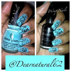 Blue Sara Wrap Nails by Dearnatural62 on YouTube