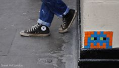 Street Art London presents Invader. Part of our London Street & Graffiti Artists series. See photos, pictures, videos and galleries of Invader's street art. Street Art London, London Art, Invader Paris, Chuck Taylor Shoes, French Street, Space Invaders, Street Artists, Walking Tour, Game Character