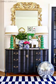 Blogger Stylin' Home Tours- Favorite Room Edition // Entry // Foyer // Blue and White Accessories // Gold Mirror // Disco Ball // French Provincial Dresser