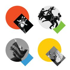 Paula Scher's new identity for Queens Theatre forms the letter 'Q' from simple shapes used as containers for imagery.
