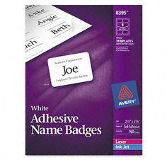 Flexible Self-Adhesive Laser/Inkjet Name Badge Labels (160/Pack)