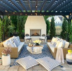 I've been swapping out summer for fall decor inside but my patio remains full summer vibes! We will be enjoying this space all the way… Outdoor Seating, Outdoor Rooms, Outdoor Living, Outdoor Decor, Outdoor Patios, Outdoor Kitchens, Backyard Retreat, Backyard Patio, Patio Pillows