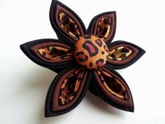 Leopard Print Kanzashi Flower Hair Clip by AprilMinnas for $7.00