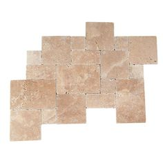 Daltile Travertine Inca Brown Blended Paredon Pattern Natural Stone Floor and Wall Tile Kit (6 sq. ft. / kit)-TS37PATTERN1P - The Home Depot