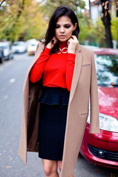 Coat, Turtleneck, Skirt, & Heels