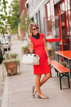 dress (J.Crew see similarHEREandHERE), flats (Loeffler Randall,Omar + Elsie), bag (Clare Vivier,Omar + Elsie, avail onlineHERE), necklaces (Similar), watch (Michael Kors), rings (Lagos, Anna Beck), cuff (Similar) You know typically, I don't gravitate towards red. No specific reason other than I have to have just the right shade for my skin tone—the dress above and …