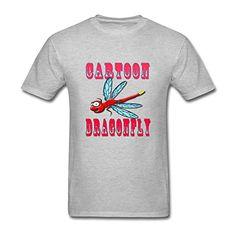 Modern Mens Cartoon Dragonfly 100% Cotton Short Sleeve Tee Shirt Custom Clothes - X-Small, Grey