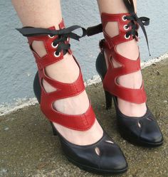 Mariana : Tall Cut Out Spats : Red Lamb - the cutouts would be neat in cogs or another steampunky theme