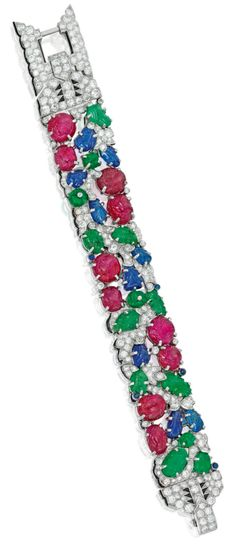 A rare Art Deco Cartier Tutti Frutti bracelet, circa Diamonds with carved rubies, emeralds, and sapphires. Art Deco Jewelry, Jewelry Design, Cartier Jewelry, Antique Jewelry, Art Deco Era, Tutti Frutti, Delicate Jewelry, Royal Jewels, Queen