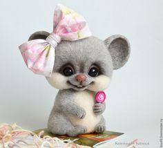 Купить Мышка Леся - серый, мышка, мышь, мышка игрушка, мышка из шерсти, мышонок, мышки