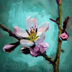 An oil painting of a fragile, translucent pink peach blossom against a robin's egg blue background. 10 inches square, oil on gessoed hardboard, ready for framing or display. Art Haus, Oil Painting Flowers, Peach Blossoms, Red Art, Arte Floral, Beautiful Paintings, Flower Art, Canvas Art, Fine Art