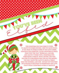 "You've Been Elfed Printable | ... You've Been Elfed"") and the other sign is to post showing ""We've Been"