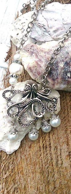 Octopus Pearl Necklace  Octopus Pendant   by SecretStashBoutique