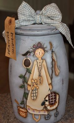 Cookie Jar, Raggedy Ann, Unique Gift Idea For Collector, Rustic Country Decor, Compost Jar, Grease Container, Gifts For Her, Kitchen Storage