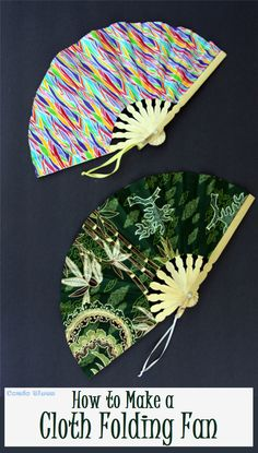 How to stay cool in summer by making or repairing a cloth folding fan. A quick and easy no sew craft you can also use for cosplay, costumes, and Halloween