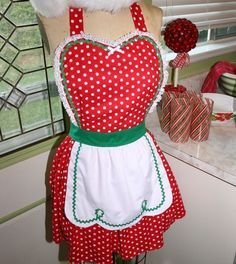 Christmas apron Red green Polka Dot full by loverdoversclothing, $29.99