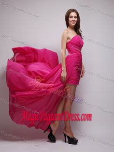 Asymmetrical One Shoulder Ruched Pageant Dress in Hot Pink