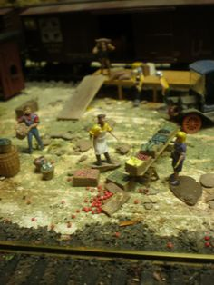 trouble at the farmers market, on my HO scale train layout
