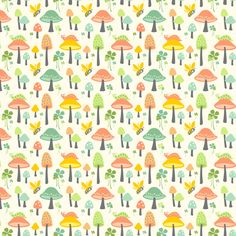 Sweet Shrooms: Cream fabric by sheri_mcculley on Spoonflower - custom fabric in a MUCH larger scale