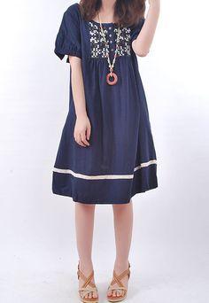 Summer linen doll Knee length Short sleeve dress by MaLieb on Etsy, $72.00