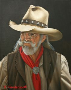 """Buffalo Rider, 14"""" x 11"""", oil on linen   I've painted a series of 1880's Cowboys. This Cowboy wears the hat, vest, scarf and scarf slide typical of that time in the American West  Available  See more of my Western Art and American Indian paintings on My Blog  http://khendersonart2.blogspot.com"""