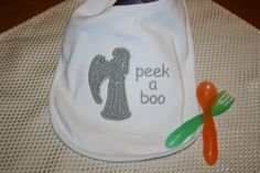 Buying this for my next friend who has a kid! Doctor Who Weeping Angel Applique Bib Dr Who by BlueBirdPatchworks