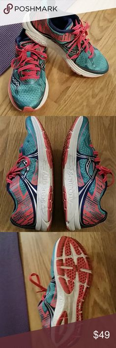 Saucony Fastwitch 7 Running shoe (racing flat) 7.5 For neutral running with minimal stability features. Very light weight shoe. 7.2 oz for women's shoe size 9 and this one is 7.5 regular width. Firm feel. Only used for 3 miles. I had a previous pair I loved and wore out. My pt is having me wear different shoes since a horse related injury. Shoes are blue and orange and the white parts on the sides are very white and not dirty. Only the tread is a little dirty, but the tread is fully in tact…