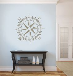Removable Vinyl Graphic – COMPASS Nautical Theme in metallic colors gold silver or copper vinyl – Available in 15x15, and up to 36inches  Original 24 x 24 for $39.99